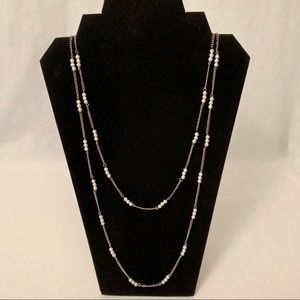Faux Pearl Silver Tone Long Necklace